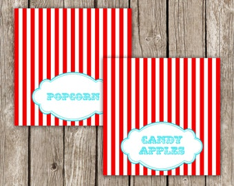 Circus Carnival Food Labels - Carnival Birthday Party - Circus Baby Shower - Editable Instant Download