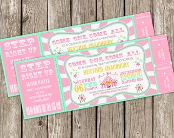 Vintage Carnival Invitation | Carnival Baby Shower Invitation | Carnival Bridal Shower | Vintage Carnival Shower - DIY Printable