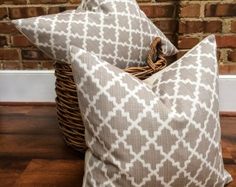 "Gray and Cream Medium Lattice Geometric Designer Pillow Cover- Trellis Pillow- Neutral Pillow- Accent Pillow- Throw Pillow- Holds 22"" Insert"