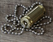 Recycled Bullet Casing Pendant Necklace BRZN