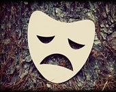 Sad Mask Unfinished Wooden Craft Shape, Do-It-Yourself