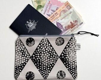 Zipper Pouch, Screen printed, Geometric design, Phone holder, Coin purse , Coin purse