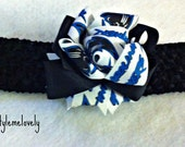 Carolina Panthers Baby girl Boutique Bow Crocheted headband