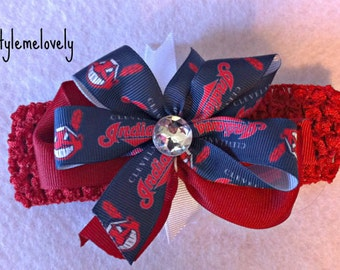 Cleveland Indians Baby Girl Boutique Bow Crocheted Headband