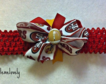 San Francisco 49ers Baby Girl Boutique Bow Crocheted Headband