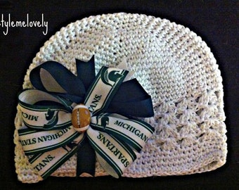 Michigan State Spartans Baby Girl Boutique bow Crocheted Hat