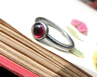 Cinnamon Stone, Garnet silver ring, summer jewelry, Rings, stacking ring, gemstone ring, Sterling silver, Stackable ring by MARIAELA