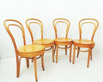 Vintage Set of 4 Hand Bentwood Dining Cafe Chairs Bistro C 1960s
