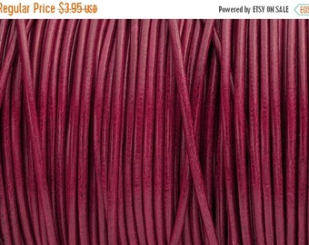30% OFF 2MM Round Leather Cord - Fuchsia - 2Yards/6ft - High Quality European Leather Cord