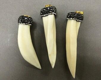 "Pave Black Diamond Rhinestone Capped Shell Horn Tusk Pendant Cream , 2.50"",  65mm x 19mm, Tibet Horn - AP403"