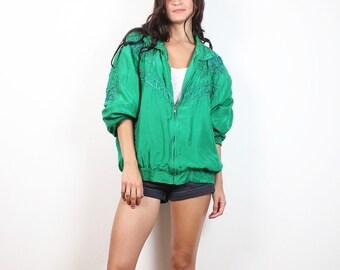 Vintage Silk Bomber Jacket Kelly Green Slouchy Windbreaker Jacket 1980s Embroidered Sporty 80s Track Jacket Warm Up Jacket XL Extra Large
