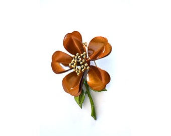 Flower Brooch, Flower Pin, Brown Brooch, Brown Pin Fall Fashion Fall Accessories, Bronze Vintage Brooch Enamel Brooch,Vintage Accessories