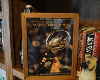 New Orleans Saints Original 2010 Yearbook Super Bowl XLIV Champions Deep Profile Frame Solid Cedar