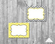 Gray and Yellow Chevron Labels, Printable PDF, Editable Labels, Editable PDF, Instant Download, Immediate Download