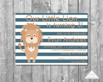 Lion Invitation, Our little lion Invite, Boy Birthday Party, Lion Party, Lion Birthday, jungle birthday, little lion, Printable Invitation