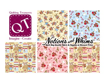 35 PERCENT OFF SALE 5 Fat Quarter Cuts of Quilting Treasures Zoe & Zack by Bethany Shackelford