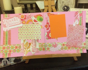 Two ballerina premade scrapbook pages