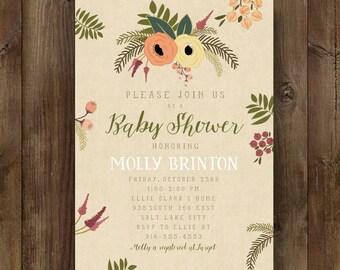 Fall Autumn Baby Shower, Printable Invitation