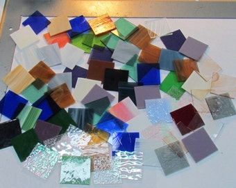 """MIXED 2"""" Glass Tile for Mosaic or Craft Projects 2 LBS."""