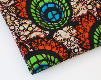 African Wax Print Fabric / Abstract Floral Batik Fabric / Sold By The Half Yard / 100% cotton