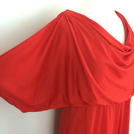 vintage disco dress red Grecian style draped dress UK 16 elasticated waist evening gown vintage wedding 1970s 70s Studio 54 cape sleeves