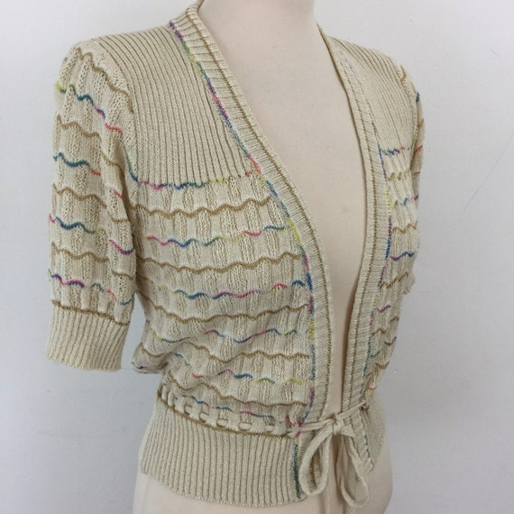 vintage cardigan 1930s style fine knitwear Tricoville cream open lacy top 1940s feel short sleeve knit small gold striped