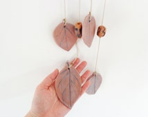 Ceramic leaf windchime, botanical pottery outdoor porch decoration, organic garden wind chime, terrace or loggia hanging mobile