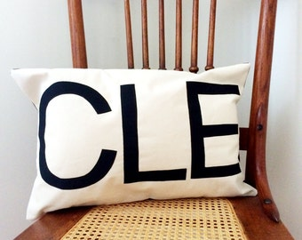 CLE Airport Code Pillow Cover -  Your Hometown Pillow Cover