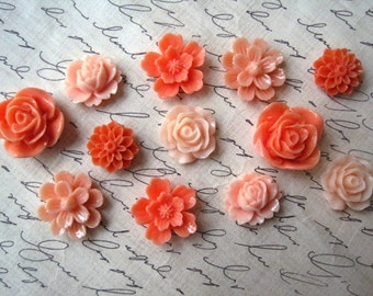Locker Magnets, Fridge Magnets, 12 pc Flower Magnets, Coral and Peach, Kitchen Decor, Housewarming Gifts, Wedding Favors, Stocking Stuffer