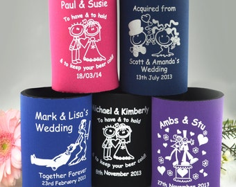 50 x Printed Stubby Holders Coolers Wedding Favour Gift Bomboniere