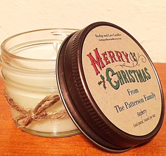 12 Personalized Soy Wax Jar Candles, Christmas Favors, Holiday Favor, Christmas decor, Party Favor, Unique Christmas Gifts, Holiday Gift