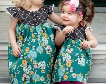 Girls Flutter Sleeve Dress, Easter Dress, Girls Butterfly Dress, Size 2T-8yr