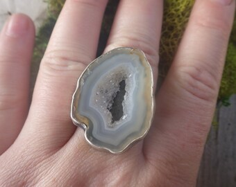 Sugar Geode Twisted Band Sterling Silver Ring SIze 8.5