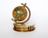 Old Globe - Magnifying Glass - World Globe Desk Decor - Vintage Globe - Brass Paperweight - Globe Paperweight - Gift for Boss - Office Decor