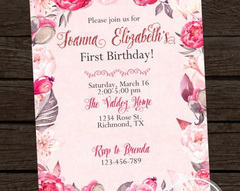 PRINTABLE- Pink floral watercolor Birthday Invitation - YOU PRINT