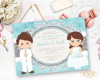 PRINTABLE-Girl and Boy First Holy Communion Invitation- YOU PRINT