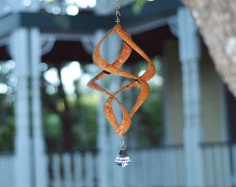 BreezeWay Garden Wind Spinner | Wind Art w/ Copper Patinas & Cyrstal Suncatcher | Pure Copper | Quality Handcrafted by BreezeWay Artists