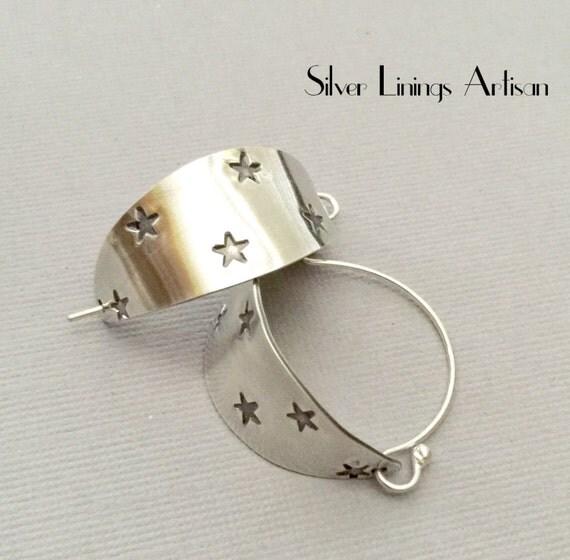 sterling silver basket hoop earrings forged