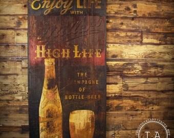 "Vintage 1950s Miller High Life Embossed Metal Advertising Sign 7' 10"" Breweriana"