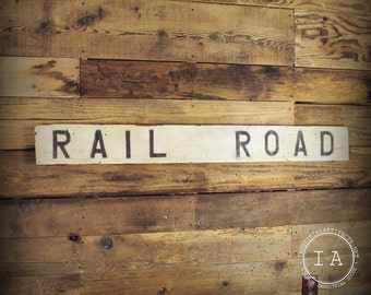 Vintage Wooden Painted Railroad Crossing Sign