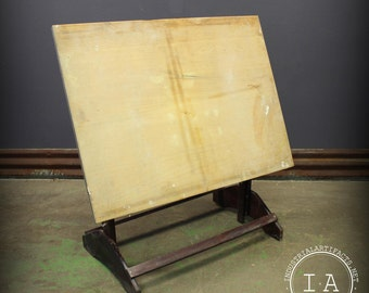Vintage Industrial Wooden Artists Drafting Table