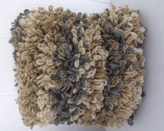 HANDKNIT LOOPY PILLOW  Large     Lots of Texture      Beige    Brown    Gray      Chunky       SooooooSoft      Warm and Cuddly