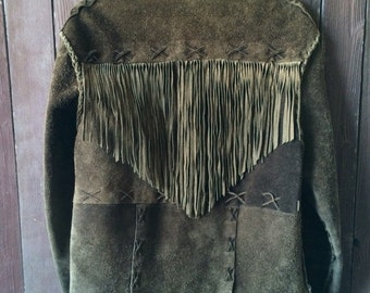 Amazing One Of A Kind Hand Made Leather/Suede Jacket with Fringe On Back.