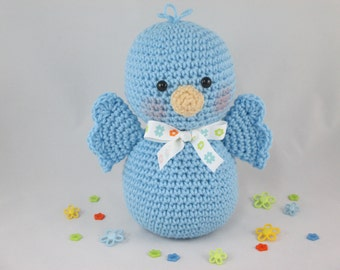 Crochet Stuffed Blue Bird, Amigurumi Bird, Crochet Baby Bird, Crochet Bird, Bird Plush by CROriginals