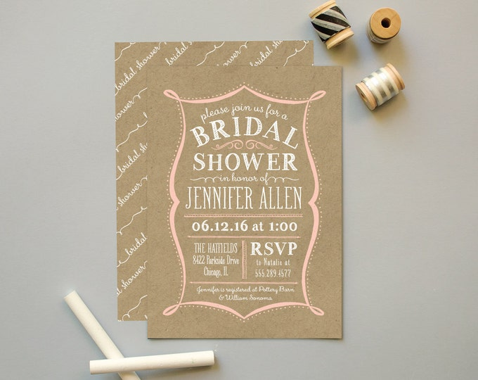 Bridal Shower Invites on Kraft Paper, Shower Invitation for Wedding Parties, Vintage Bridal Shower Invitations with Kraft or Chalkboard