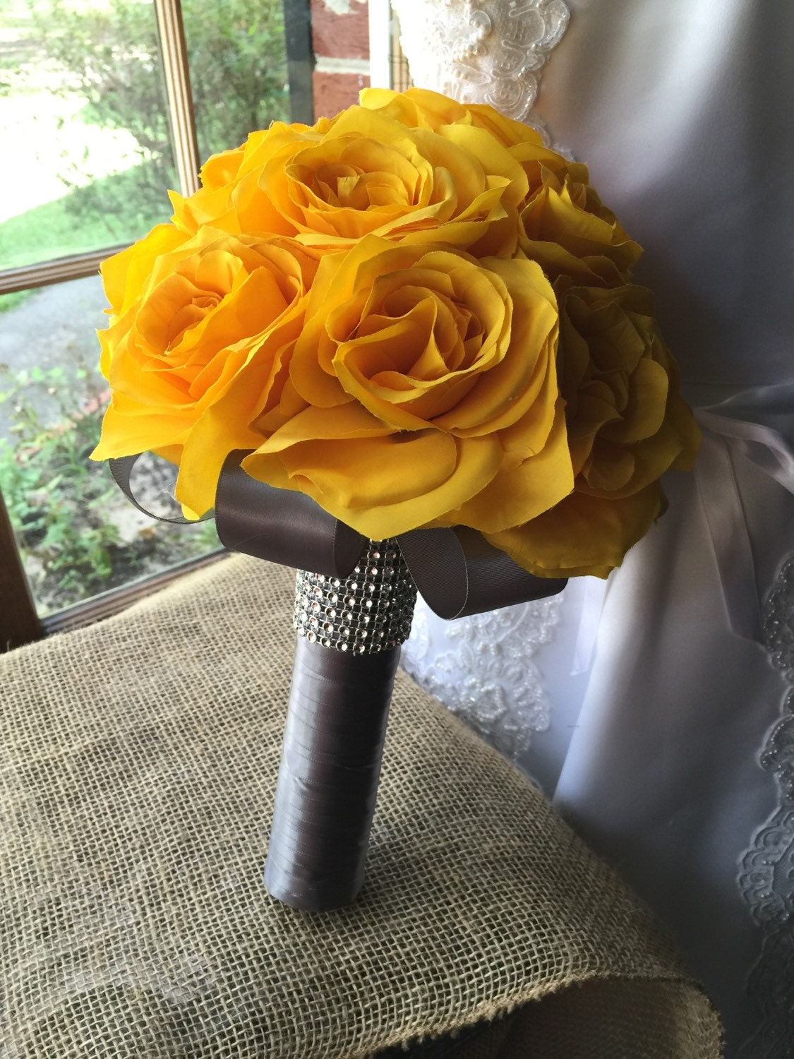 Wedding Bouquet Real Touch Yellow Rose Bridal Bouquet Yellow