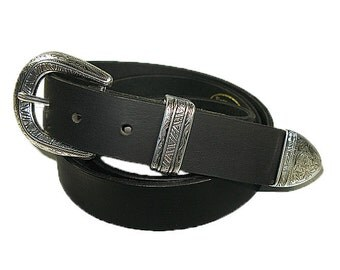 Handmade Solid Buffalo Leather South Western Style Belt Black 1-1/4""