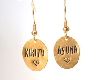 Custom text metal stamped earrings