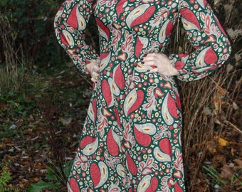 Rare vintage gem! 70's Handmade Mod Paisley Jumpsuit with Wide Legs, Long Sleeves and a Long Metal Zipper in Back