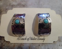 Authentic Navajo,Native American,Southwestern,sterling silver,vintage style sleeping beauty stamped stud earrings.Made to order.